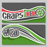 Vector banners for Craps. Gamble: inscription title text on card - craps, 2 red dice cubes with combination 6:5, 1:4, green chip nominal 25 on texture Royalty Free Stock Image