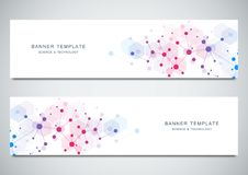 Vector banners design for medicine, science and digital technology. Molecular structure background and communication. With connected lines and dots vector illustration