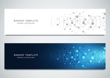 Vector banners design for medicine, science and technology. Molecular structure background and DNA helix. Vector banners design for medicine, science and stock illustration