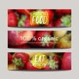 Vector banners design template with blur background with fruits. And strawberry. Healthy fresh food, vegeterian and eco concept. Can be used for presentation stock illustration