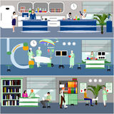 Vector banners with doctors and hospital interiors Royalty Free Stock Photo