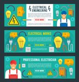 Vector banners for electrical engineering. Electrical engineering banners templates set. Vector electrician worker man and flat work tools of electricity fuse royalty free illustration