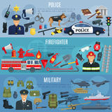 Vector banners firefighter, military and police. Firefighter, military and police banners. Vector fire extinguisher, water hydrant and truck, military ammunition Royalty Free Stock Photography