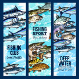 Vector banners for fishing or fisher sport club Stock Photo