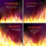 Vector banners with flame effects. Set of banners with flame effects. Design element with realistic fiery, flaming bonfire,. Vector illustration of fire Royalty Free Stock Photos