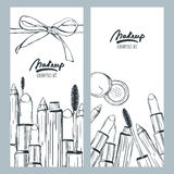 Vector banners or flyers with hand drawn illustration of makeup cosmetics. Royalty Free Stock Photos