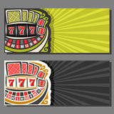 Vector banners for Gambling games. 2 layouts with roulette wheel, poker playing cards, red dice for craps, lucky gamble symbol 777, invite flyer for casino royalty free illustration