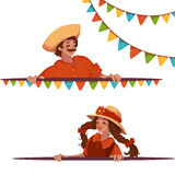 Vector banners with girl and boy at Brazilian Festa Junina Party.  Royalty Free Stock Photos
