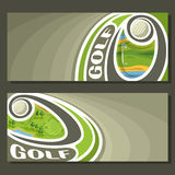 Vector banners for Golf. Game: golf ball flying on curve trajectory above course field in hole with flag, 2 tickets to sporting tournament with empty field for Royalty Free Stock Image
