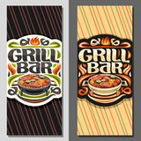 Vector banners for Grill Bar. Leaflet template with fried chicken legs, sirloin mutton steak, healthy zucchini, fresh tomatoes and sweet corn on round grid stock illustration
