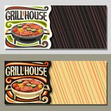 Vector banners for Grill House. With copy space, fried chicken legs, sirloin mutton steak, healthy zucchini, fresh tomatoes and sweet corn on round grid royalty free illustration