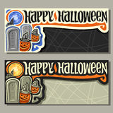 Vector banners for Halloween holiday. 2 cards with Jack-o`-lantern, title happy halloween with grey backdrop for sale info, halloweens pumpkin hiding behind Stock Images