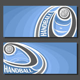 Vector banners for handball. Game: thrown handball ball flying on curve trajectory above court, 2 template tickets to sporting tournament with empty field for vector illustration