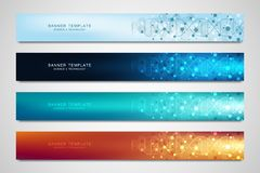 Vector banners and headers for site with DNA strand and molecular structure. Genetic engineering or laboratory research. Abstract geometric texture for medical royalty free illustration
