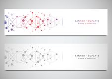 Vector banners and headers for site with DNA strand and molecular structure. Genetic engineering or laboratory research. Abstract geometric texture for medical vector illustration