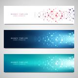 Vector banners and headers for site with DNA strand and molecular structure. Genetic engineering or laboratory research. Abstract geometric texture for medical stock illustration
