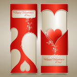 Vector banners with hearts. Royalty Free Stock Photo