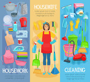 Vector banners for home housework cleaning washing. Housewife at housework banners set for home cleaning, washing and cooking. Vector kitchenware washer, vacuum stock illustration