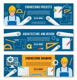 Vector banners home interior design work tools Stock Photo