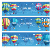 Vector banners for hot air balloon tour or show Royalty Free Stock Photos