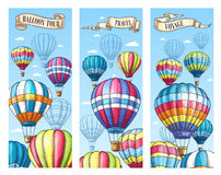 Vector banners for hot air balloon travel tour Royalty Free Stock Images