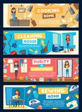 Vector banners for house cleaning and cooking. House cleaning, cooking and sewing banners for housewife or service. Vector cartoon woman at home work, washing royalty free illustration