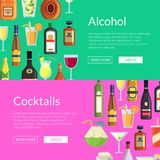 Vector banners illustration with alcoholic drinks in glasses and bottles in flat style. Vector horizontal web banners or poster illustration with alcoholic Stock Photography