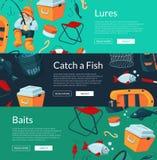 Vector banners illustration with cartoon fishing. Vector horizontal web banners illustration with cartoon fishing equipment Royalty Free Stock Photo