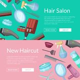 Vector banners illustration with hairdresser or barber cartoon elements. Vector horizontal web banners illustration with hairdresser or barber cartoon elements stock illustration