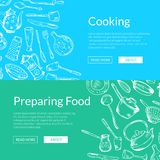 Vector banners illustration with hand drawn kitchen utensils vector illustration