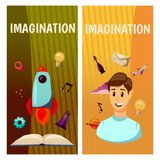 Vector banners. Imagination and exploration. Science and research. Rocket launch. Discovery new world, start new. Imagination and exploration. Science and Stock Photo