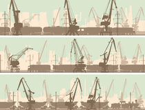 Vector banners of  industrial city with cargo crane tower. Stock Image