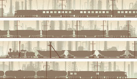 Vector banners of industrial city with train. Royalty Free Stock Images