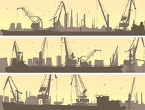 Vector banners of industrial port with cargo crane. Set vector horizontal banners of industrial port with cargo crane tower and tanker Royalty Free Stock Image