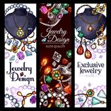 Vector banners of jewelry fashion accessories. Jewelry fashion accessories design banners. Vector set of gemstones and gold or silver bijou, exclusive diamond Stock Photography