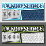 Vector banners for Laundry Service. With copy space, brochures with 4 automatic washing machine in a row, original typeface for words laundry service on vector illustration