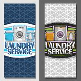 Vector banners for Laundry Service. Leaflets with automatic washing machine, basket with linens, electric iron and stack of towels, original typeface for words vector illustration