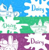 Vector banners with lettering and hand drawn dairy products. Vector horizontal banners with lettering and hand drawn dairy products, milk splashes illustration Stock Photos