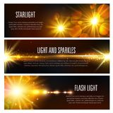 Vector banners of light flash and sparkles effect Royalty Free Stock Photography