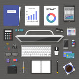 Vector banners management and administration. The concept banner marketing and management, office tools objects and devices on table, flat symbol top view Royalty Free Stock Images