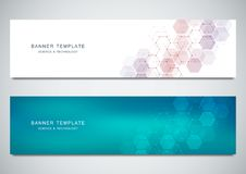 Vector banners for medicine, science and digital technology. Geometric abstract background with hexagons design. Molecular structure and chemical compounds Stock Photography