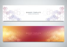 Vector banners for medicine, science and digital technology. Geometric abstract background with hexagons design. Molecular structure and chemical compounds Royalty Free Stock Photo