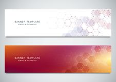Vector banners for medicine, science and digital technology. Geometric abstract background with hexagons design. Molecular structure and chemical compounds Stock Photo