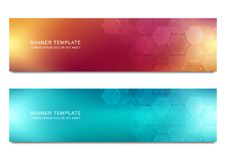 Vector banners for medicine, science and digital technology. Geometric abstract background with hexagons design. Molecular structure and chemical compounds Royalty Free Stock Image
