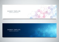 Vector banners for medicine, science and digital technology. Geometric abstract background with hexagons design. Molecular structure and chemical compounds Royalty Free Stock Photography