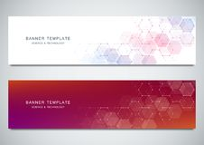 Vector banners for medicine, science and digital technology. Geometric abstract background with hexagons design. Molecular structure and chemical compounds Stock Image