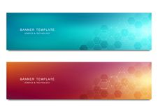 Vector banners for medicine, science and digital technology. Geometric abstract background with hexagons design. Molecular structure and chemical compounds Stock Photos
