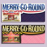 Vector banners for Merry-Go-Round Carousel. Vector banners with copy space for Merry-Go-Round Carousel, children`s attraction with horses in amusement park Royalty Free Stock Image