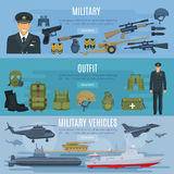 Vector banners military forces vehicles and outfit. Military forces vehicles, outfit and weapon arms banners set. Vector design of military soldier in armored Stock Image