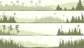 Vector banners of misty coniferous forest with glades. Set vector horizontal banners of misty coniferous forest hills with glades (green tone stock illustration